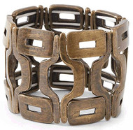 Antique Bronze Geometric Design Stretch Bracelet