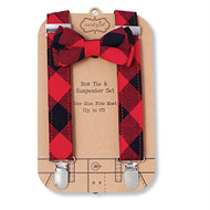 Mud Pie Buffalo Check Bow Tie & Suspender Set