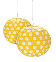 "Yellow Polka Dot Paper Lantern - 12"" - Set of 2"