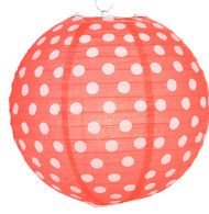 "Red Polka Dot Lantern - 14"" - Set of 2"