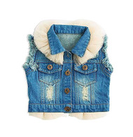 Baby Girls Blue Jean Vest with Tulle
