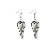 Antique Silver Elongated Puff Heart Earrings