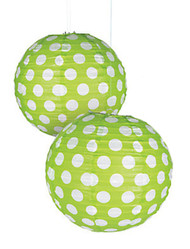 "Lime Green Polka Dot Paper Lantern - 12"" - Set of 2"