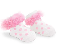 Baby Girl Light Pink Knit Polka Dot Booties, Socks