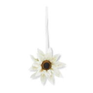 20 Inch White Sunflower Wreath, Hanging