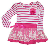 Girls Striped Dress with Lace Skirt (Small)