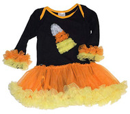 Baby Girls One Piece Candy Corn One Piece Outfit, Halloween Costume with Tutu, Medium, 6-12 months