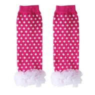 Baby Girls Hot Pink & White Leg Warmers with Chiffon Ankles