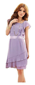 Womans Purple Ruffle Dress K8220Y - Small
