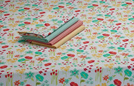 "April Flowers Print Tablecloth - 52"" X 52"" Square"