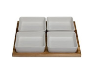 TAG Acacia Tray with 4 Stoneware Bowls (202343)