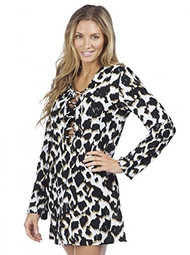 La Blanca In The Shadows Laceup Tunic Cover Up