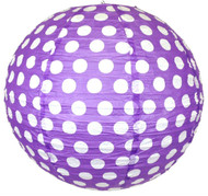 "Purple Polka Dot Paper Lantern - 12"" - Set of 2"