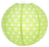 "Lime Polka Dot Lantern - 14"" - Set of 2"