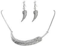 Antique Silver Feather Necklace Set