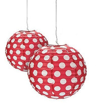 "Red Polka Dot Paper Lantern - 12"" - Set of 2"