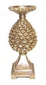 Silver Gold Pinecone Pillar Candle Holder