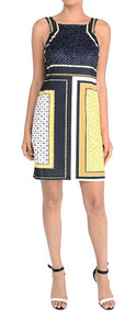 Aryeh Ladies Navy & Yellow Color Block Print Shift Dress (Large)