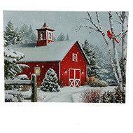 Barn & Cardinal Lighted Christmas Print