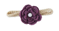 Baby Girls Beige Knit Headband with Plum Flower