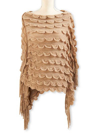 Light Brown Scalloped Knit Cape