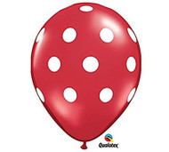 "11"" Red & White Polka Dot Latex Balloon - Set of 6"