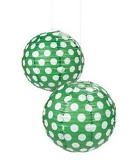 "Green Polka Dot Paper Lantern - 12"" - Set of 2"