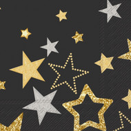 Ideal Home Range 20 Count Cocktail Napkins, Sparkling Stars Black