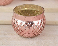 Rose Gold Hobnail Glass Votive Holder