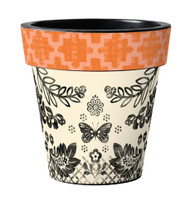 "Studio M Orange Aztez 15"" Art Pot Planter"
