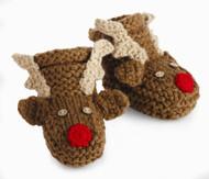 Mud Pie Unisex Baby Reindeer Booties, 0-6 Months