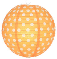 "Orange Polka Dot Lantern - 14"" - Set of 2"