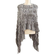 Gray Knit Faux Fur Cape
