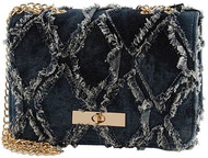 Frayed Blue Denim Bag with Gold Chain