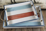Distressed Red White & Blue Wooden Trays Set of