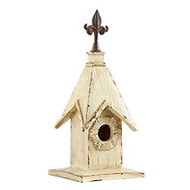 White Wash Tall Thin Birdhouse with Fleur De Lis Steeple