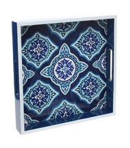 "12"" Blue & White Decorative Tray"
