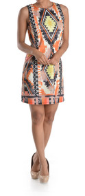 Ladies Araya Navajo Printed Sleeveless Shift Dress (Small)