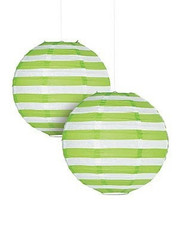 "Lime Green Striped Paper Lantern - 12"" - Set of 2"