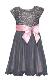 Girls Bonnie Jean Julie Sequin Lace Dress, Grey and Pink