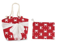 Mud Pie Beachcomber Sarong Along Crab Tote & Zip Bag