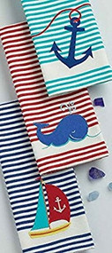 DII Nautical Embellished Dish Towels - Set of 3