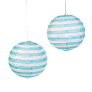 "Light Blue Striped Paper Lantern - 12"" - Set of 2"