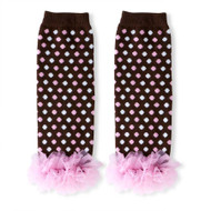 Baby Girls Brown & Pink Leg Warmers with Chiffon Ankles