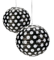 "Black Polka Dot Paper Lantern - 12"" - Set of 2"