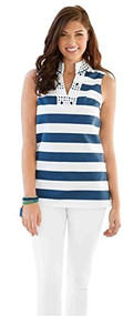 Mud Pie Willow Navy & White Striped Tunic