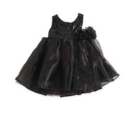Baby Girls Black Sequin Dress (6-12, Black)