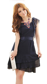 Womans Navy Ruffle Dress, Small, #8220