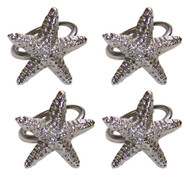 Silver Starfish Napkin Ring - Set of 4