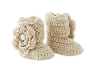 Baby Girls Beige Crocheted Knit Booties, 0-9 Months